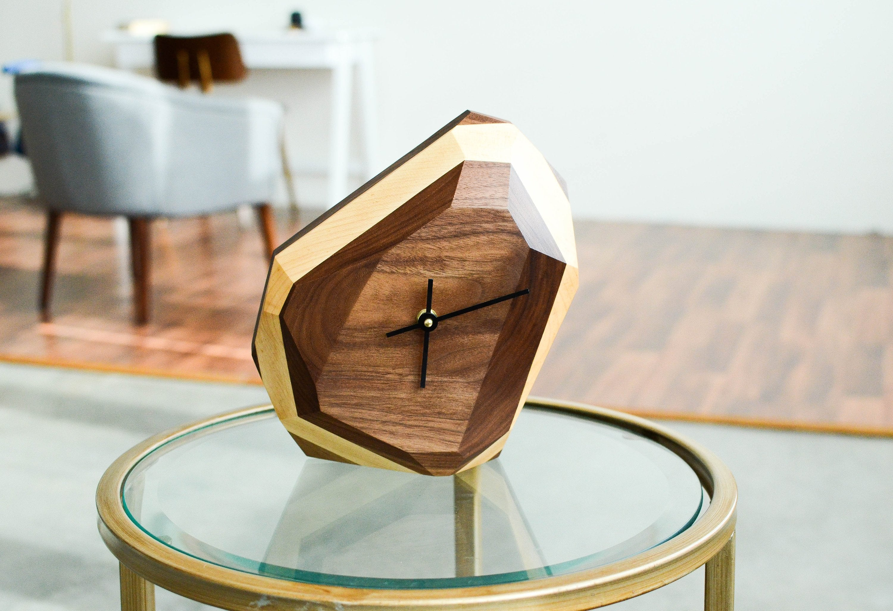 wood, clock, dial, geometric, minimalist, simple, modern, abstract, art, gem like, cut, angled, time, brown, natural, neutral, gold, black, maple, black walnut
