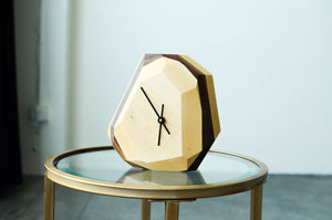 wood, clock, dial, geometric, minimalist, simple, modern, abstract, art, gem like, cut, angled, time, brown, natural, neutral, gold, black