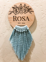 Load image into Gallery viewer, Rosa, name, personalized, initial, gift, Ki+three, handmade, made in Oklahoma, floral design, surname, established date, boho, Boheme, macrame, cute, gift, couples, families, laser engraved, wood, wall decor, wall hanging, made in the USA