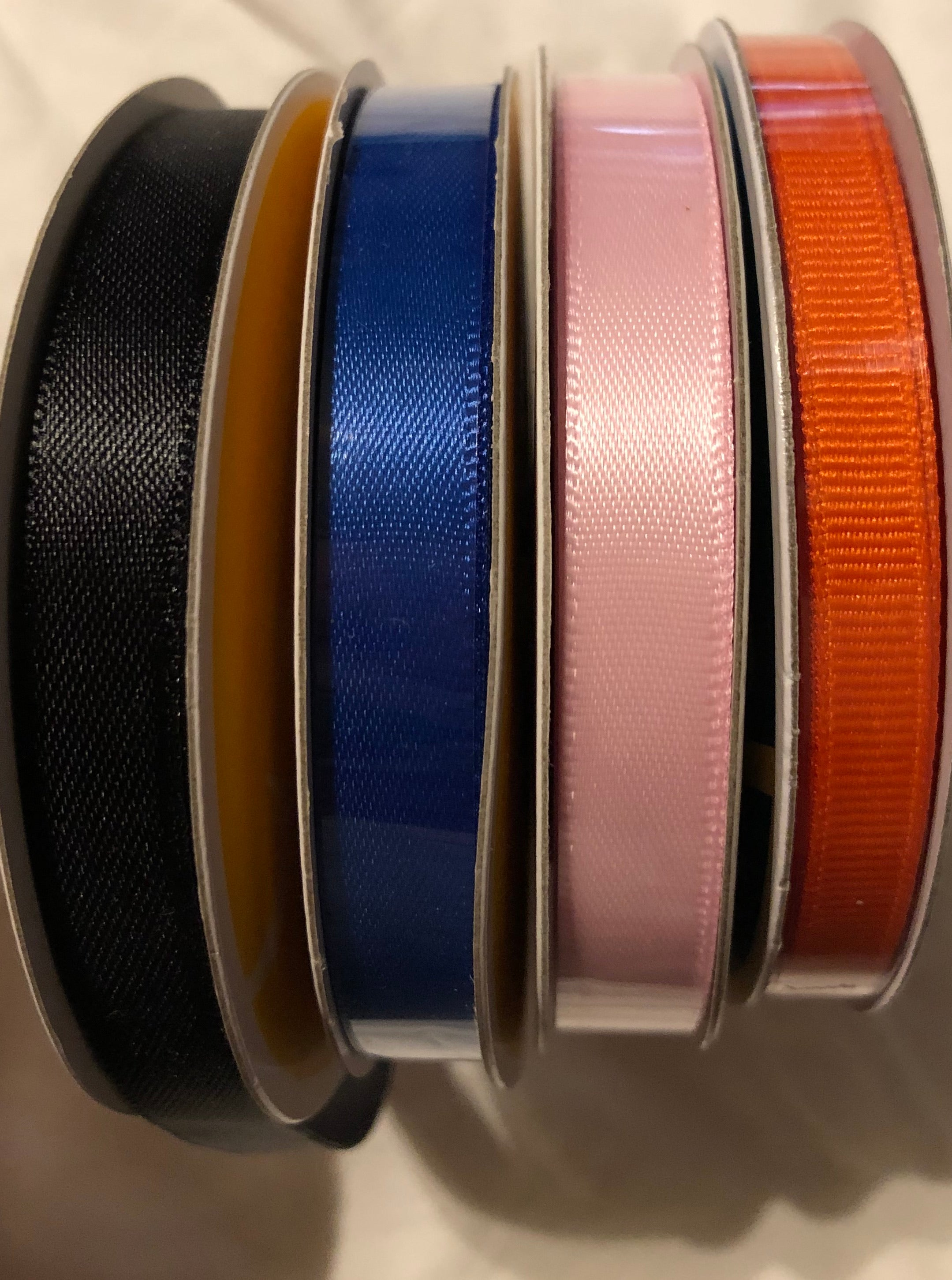 ribbons, colors, options, black, pink, orange, blue