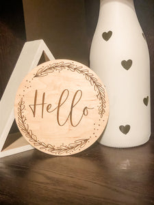 hello, wreath, script, font, typography, welcome sign, baby sign, nursery, home decor, wood decor, maple, wood, engraved, laser engraved, made in the USA, made in America, made in Oklahoma, handmade, small business, ki+three, kids room, personalization, light wood, announcement, baby announcement
