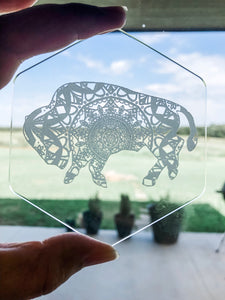 clear acrylic coaster, made in Oklahoma, buffalo, mandala design, hexagon shape, cute, fun, mio, gift, laser engraved, home