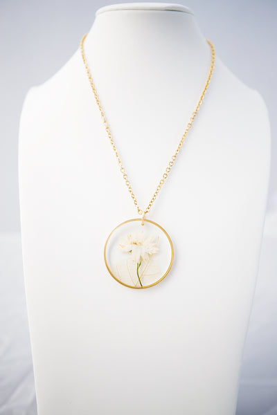 Large Gold Hoop Necklace + Flowers & Skeleton Leaves