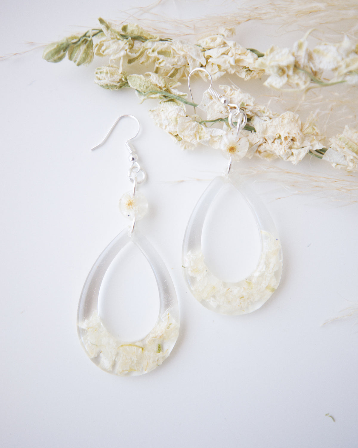 White Larkpur Drop Earrings