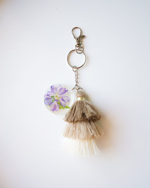 Purple Larkspur Keychain