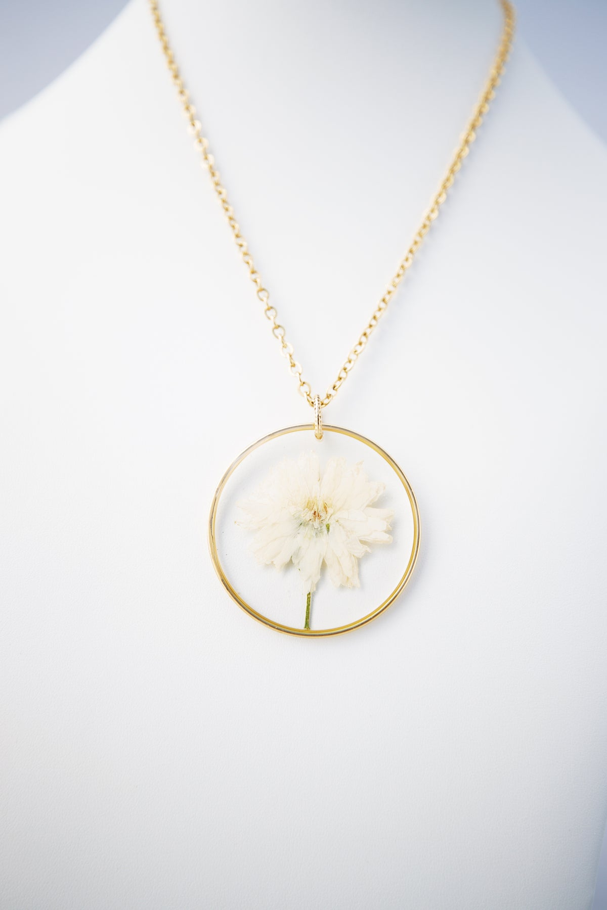 Large Gold Hoop Necklace + Flower