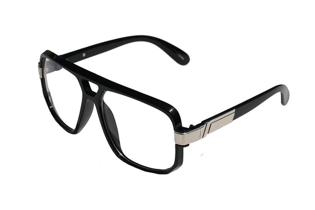 91a478171710 ... V.W.E. - Classic Square Frame Plastic Flat Top Aviator Glasses /w Metal  Trimming and Clear ...