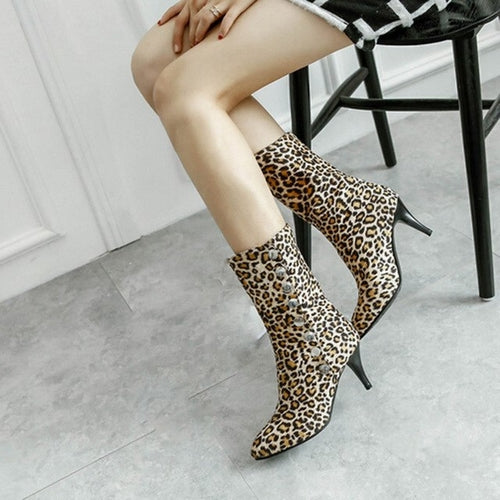 Leopard-Printed Shoes Women's Snow Boots