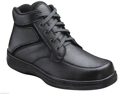 Highline - Orthofeet -  Black Leather Boots - Laces - Diabetic Shoe - 481