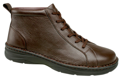 Hilliard Drew Brown Pebbled Men Diabetic Leather Casual Boots