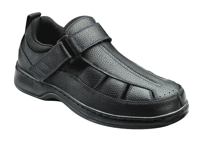 Melbourne - Orthofeet Black Fisherman Sandal - Velcro - Diabetic Shoe - 571