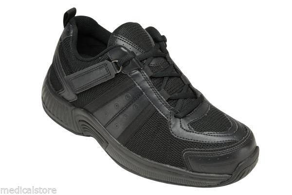 Montery Bay Orthofeet Black Walking Running Shoe - Laces - Diabetic Shoe - 611