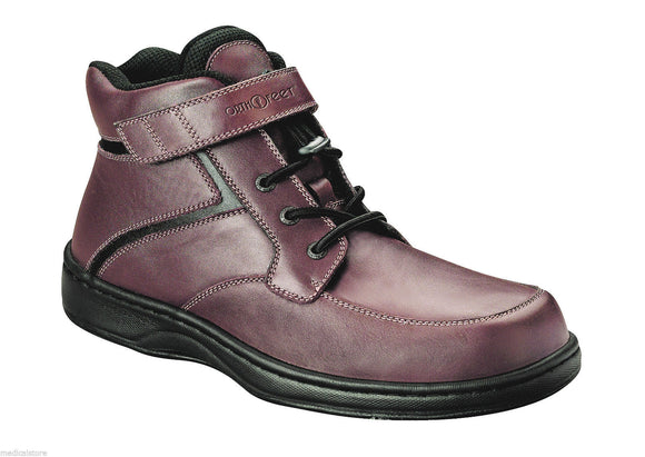 a73f5f151f Mount Mitchell - Orthofeet - Brown Leather Boots -Velcro - Diabetic Shoe -  582