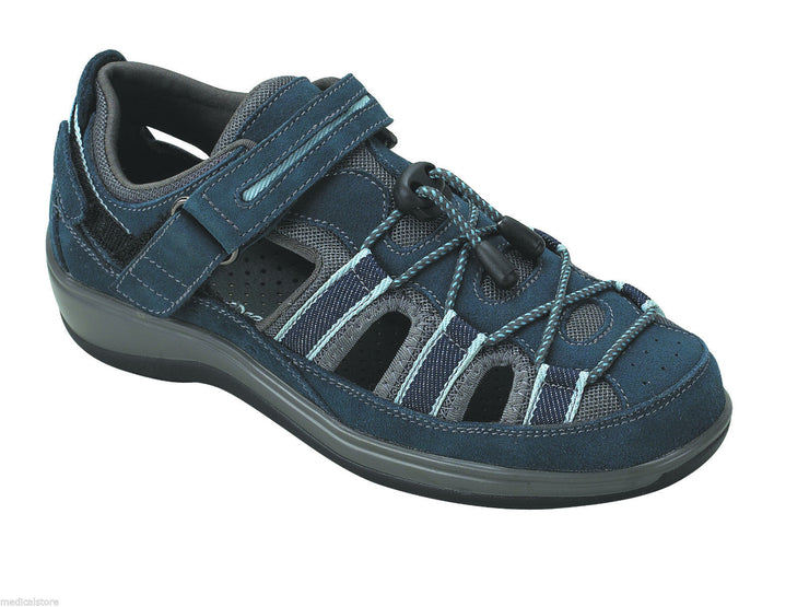 Naples - Blue - Orthofeet - Fisherman Sandal - Diabetic Shoes - 875