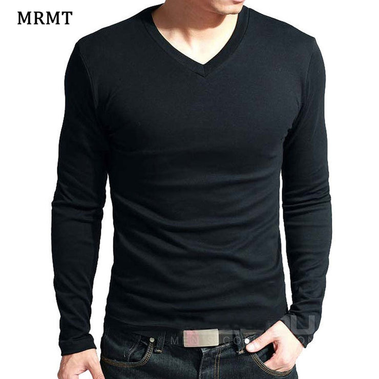 Stretchy V-Neck Long Sleeve T-Shirt For Male Lycra And Cotton T-Shirts Man Clothing TShirt Brand Tees