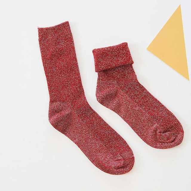 Winter Cotton Solid Thick Socks