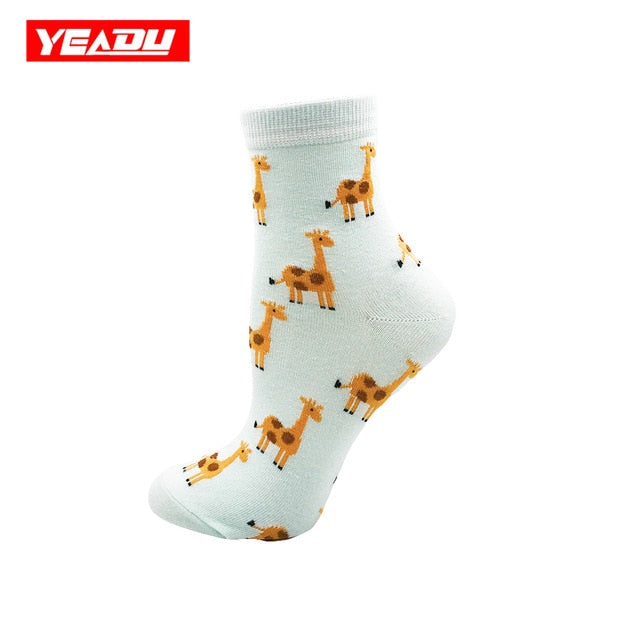 Women's Socks Japanese Cotton Colorful Cartoon Giraffe