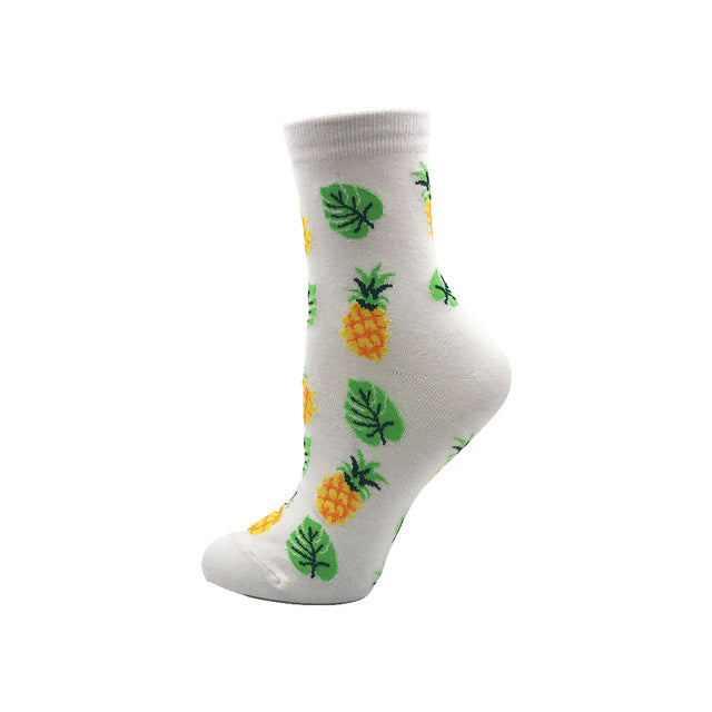 Women's Socks Japanese Cotton Colorful Cartoon Pineapple