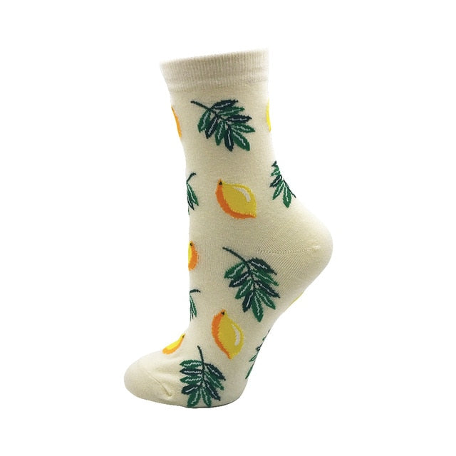 Women's Socks Japanese Cotton Colorful Cartoon Lemon