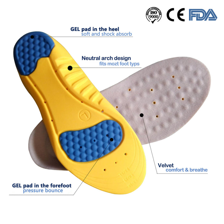 Orthotic Shoes Insoles With Soft Comfortable Feeling, Arch Supports & Heel Cushion For Sports