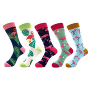 5pairs/lot Brand Quality Men Socks Combed Cotton colorful Happy Funny Socks Hot Sale fashion Casual long Mens compression socks