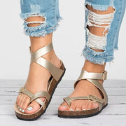 Basic Women Sandals Leather Flat Casual Beach Shoes
