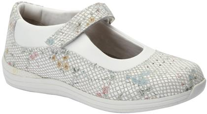 936f4d0ee5f6 Rose Drew White Floral Snake Women Diabetic Leather Athletic Flats ...