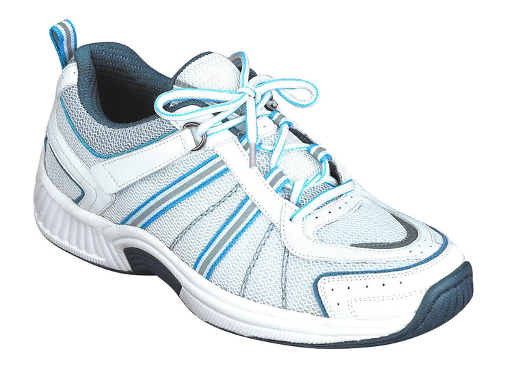 Tahoe - Orthofeet - Womens Athletic Diabetic Shoes 910 White with Blue-TieLess