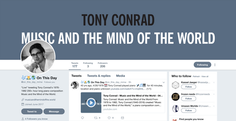 Arcangel Surfware x Tony Conrad:  🎶 🙇 🌎 On This Day Twitter Bot (SRF-044)