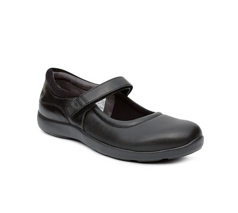 ANODYNE-W033:Black-BLACK-Casual Mary Jane Stretch-Velcro