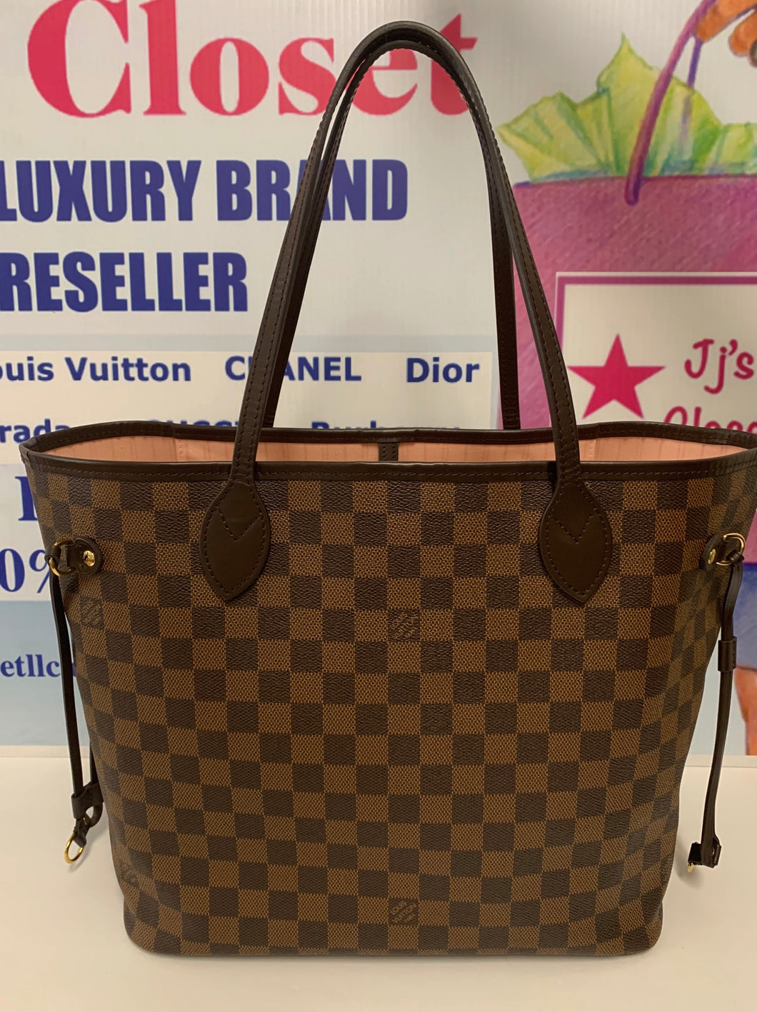AUTHENTIC Louis Vuitton Neverfull Damier Ebene MM PREOWNED (WBA218)
