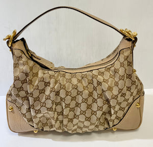AUTHENTIC Gucci Jockey Hobo Tan PREOWNED (WBA289)
