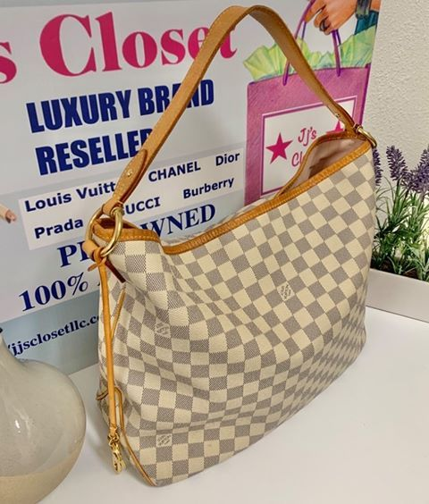 AUTHENTIC Louis Vuitton Delightful Damier Azur MM PREOWNED (WBA155)