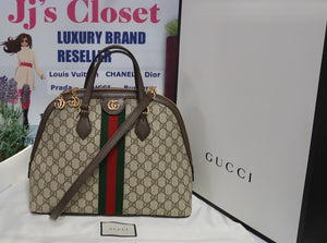 AUTHENTIC Gucci GG Supreme Ophidia Top Handle Bag PREOWNED (WBA179)