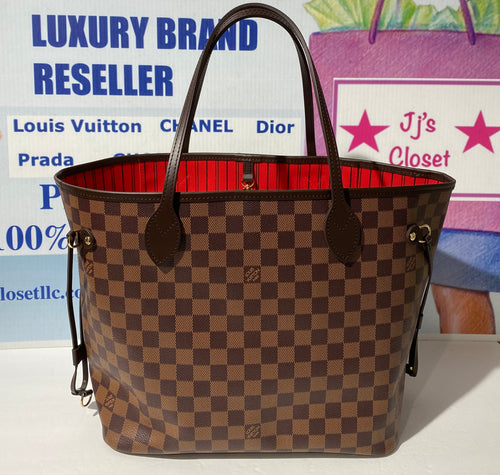AUTHENTIC Louis Vuitton Neverfull Damier Ebene MM PREOWNED (WBA278)
