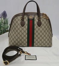 Load image into Gallery viewer, AUTHENTIC Gucci GG Supreme Ophidia Top Handle Bag PREOWNED (WBA179)