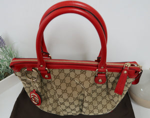AUTHENTIC Gucci GG Canvas Sukey Top Handle CB PREOWNED (WBA123)