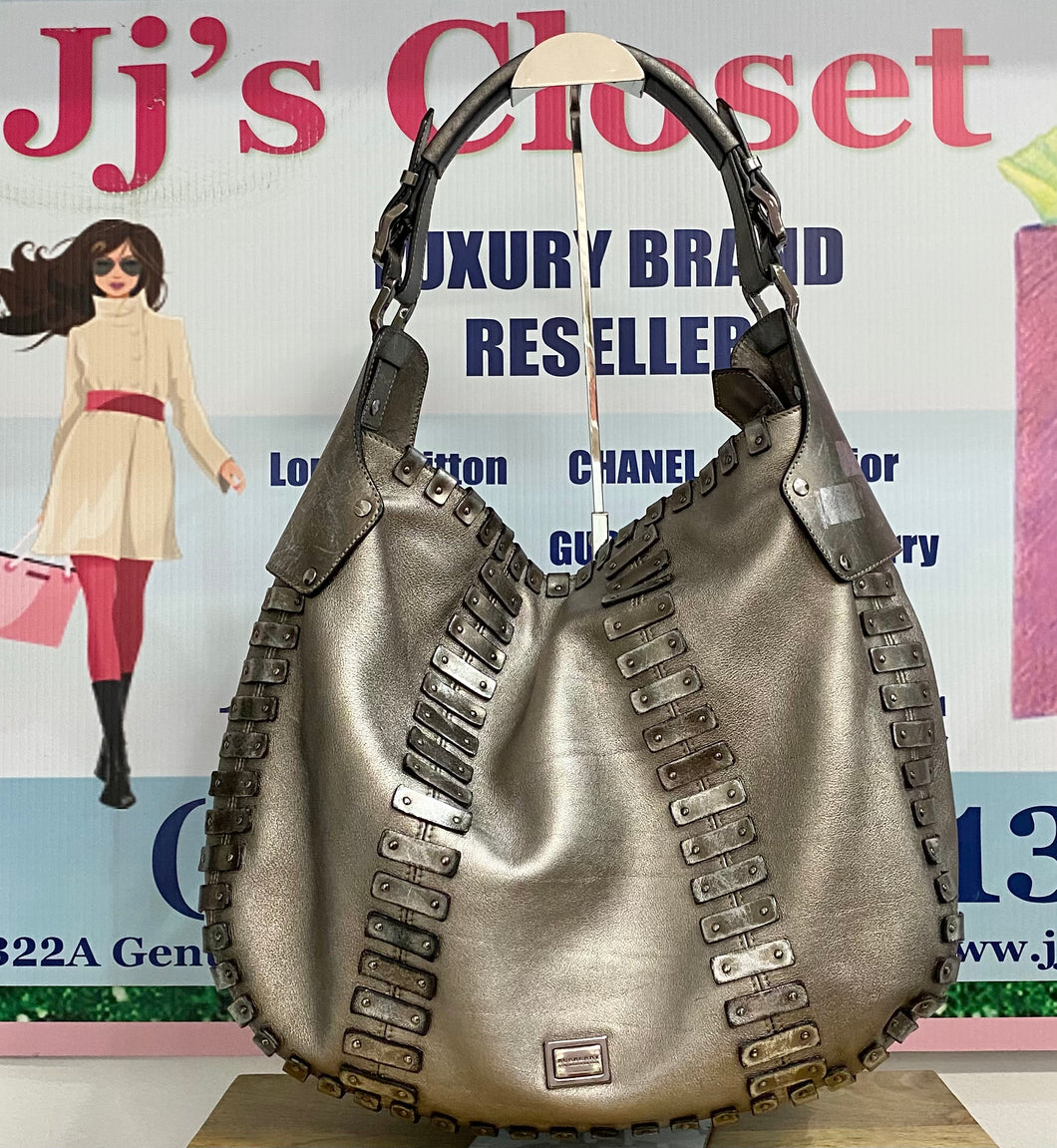 AUTHENTIC BURBERRY Silver Metallic Hobo PREOWNED (WBA369)