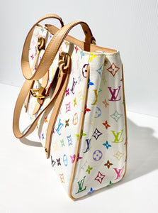 AUTHENTIC Louis Vuitton Aurelia White Multicolore MM Preowned (WBA257)