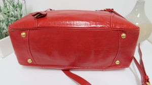 AUTHENTIC Prada Vitello Shine Red PREOWNED (WBA121)