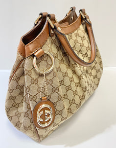 AUTHENTIC Gucci Sukey Brown PREOWNED WBA286)