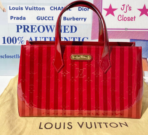 AUTHENTIC Louis Vuitton Wilshire Vernis Red Rayures PM PREOWNED (WBA276)