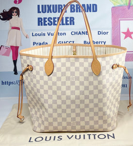 AUTHENTIC Louis Vuitton Neverfull Damier Azur MM PREOWNED (WBA336)