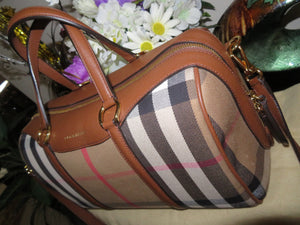 AUTHENTIC BURBERRY House Check Medium Satchel Tan (Preowned)