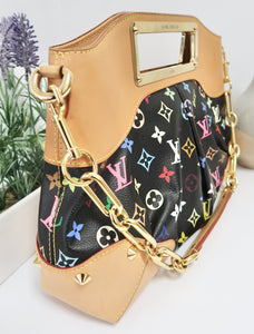 AUTHENTIC Louis Vuitton Judy Black Multicolore MM Preowned (WBA166)