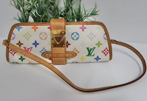 AUTHENTIC Louis Vuitton Shirley Clutch White Multicolore PREOWNED (WBA169)