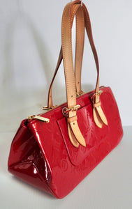 AUTHENTIC Louis Vuitton Rosewood Red Vernis Preowned (WBA198)