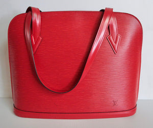 AUTHENTIC Louis Vuitton Lussac Red Epi Preowned (WBA206)