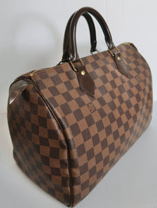 AUTHENTIC Louis Vuitton Speedy 30 Damier Ebene PREOWNED (WBA043)