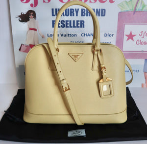 AUTHENTIC Prada Yellow Saffiano Promenade PREOWNED (WBA139)